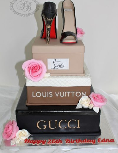 3 tier designer shoe box cake