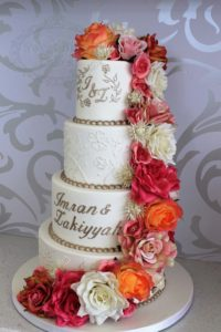 4 tier ornate piping wedding cake