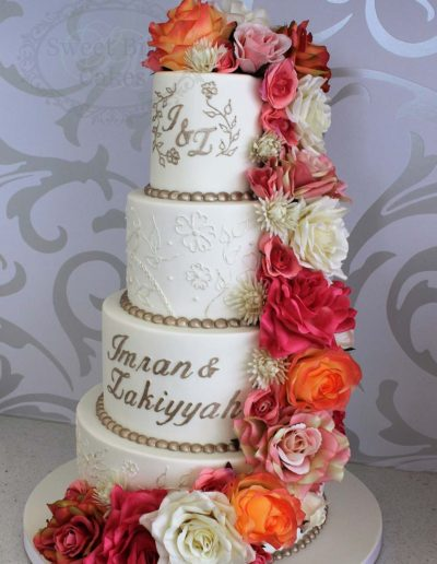 4 tier ornate piping wedding cake