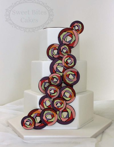 Stained glass detail wedding cake