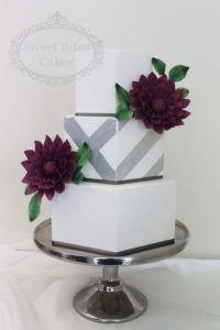 Hexagonal wedding cake with silver