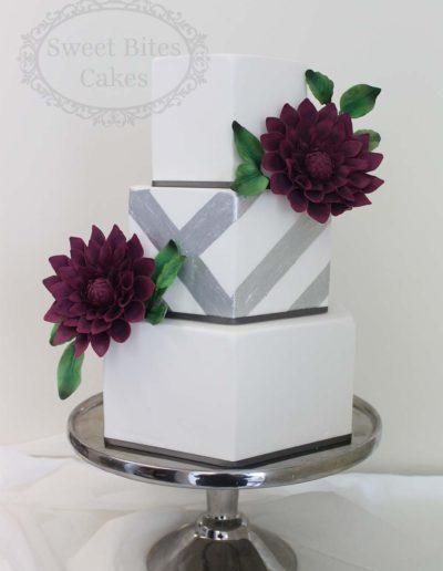 Hexagonal wedding cake with silver