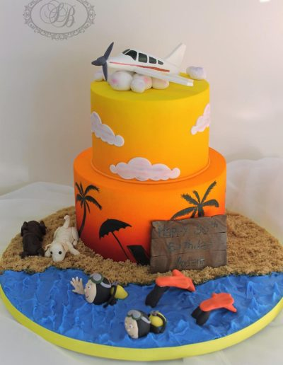 Sunset airbrushed cake with ocean and airplane