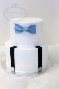 Simple bowtie 2 tier cake