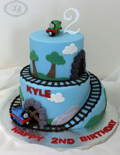 2 tier Thomas the Tank Engine Scenery Cake