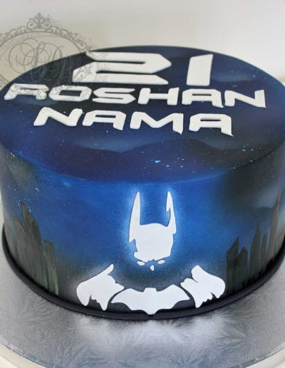Batman airbrushed cake