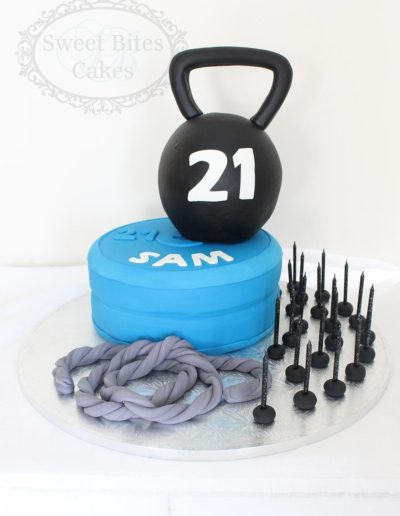 3D Kettle bell cake with weights cake