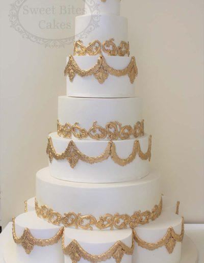 7 tier regal gold wedding cake