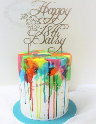Rainbow paint drip cake