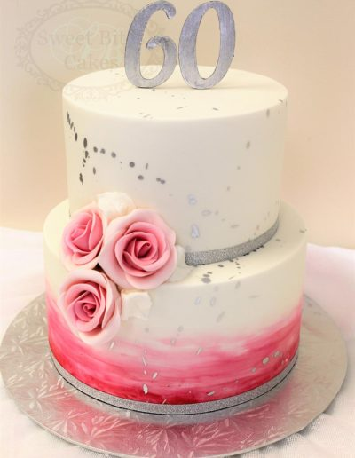 Silver splatter watercolour cake