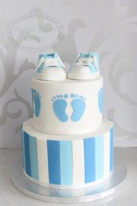 Blue stripes and converse baby shower cake