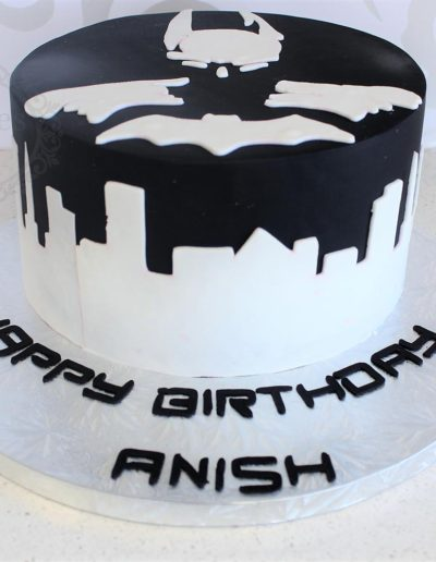 Black and white 2D batman theme cake