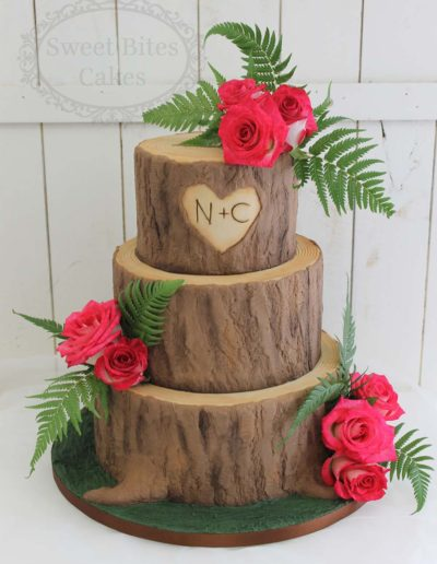 3 tier log wedding cake