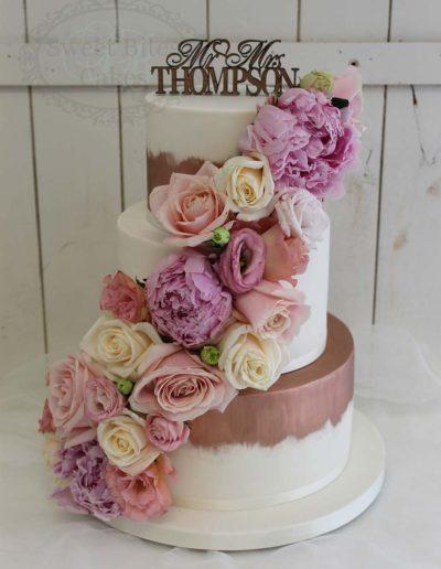 Copper brushed wedding cake