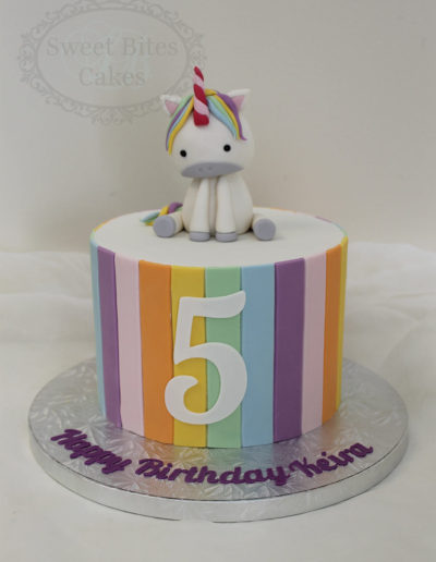 Unicorn and stripes cake