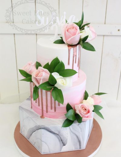 Pink, copper and marble 3 tier cake