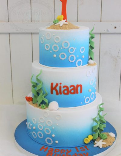 Ombre underwater themed cake