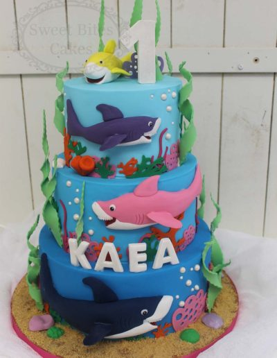 Underwater themed shark cake