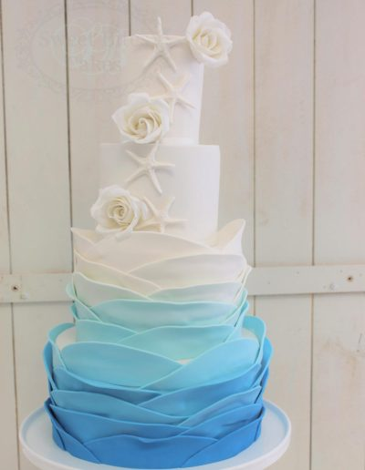 Ocean ruffle wedding cake