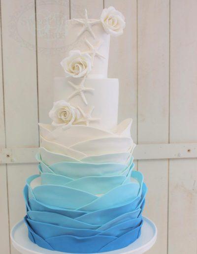 Ocean ruffle wedding cake
