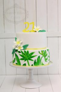 Tropical painted leaves cake