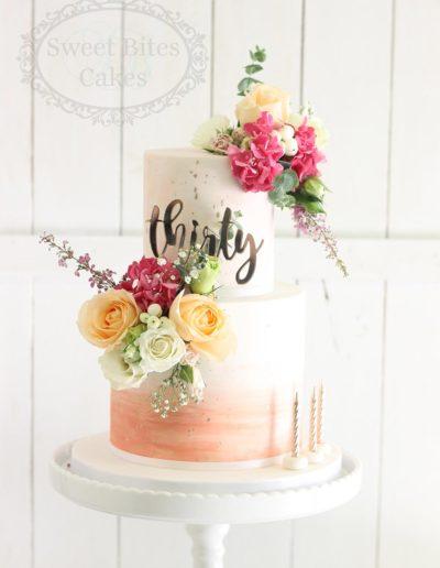Peach watercolour cake 30th birthday
