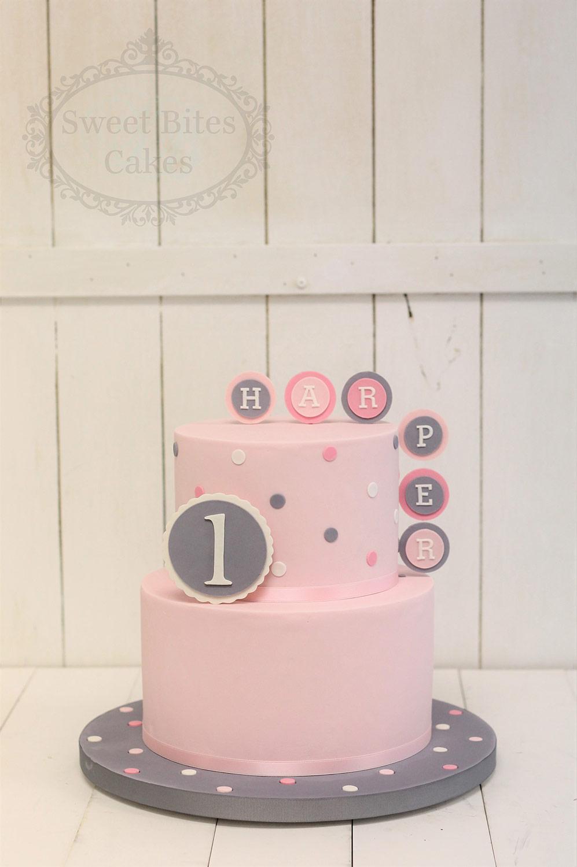 Pink And Grey Polka Dot Birthday Cake