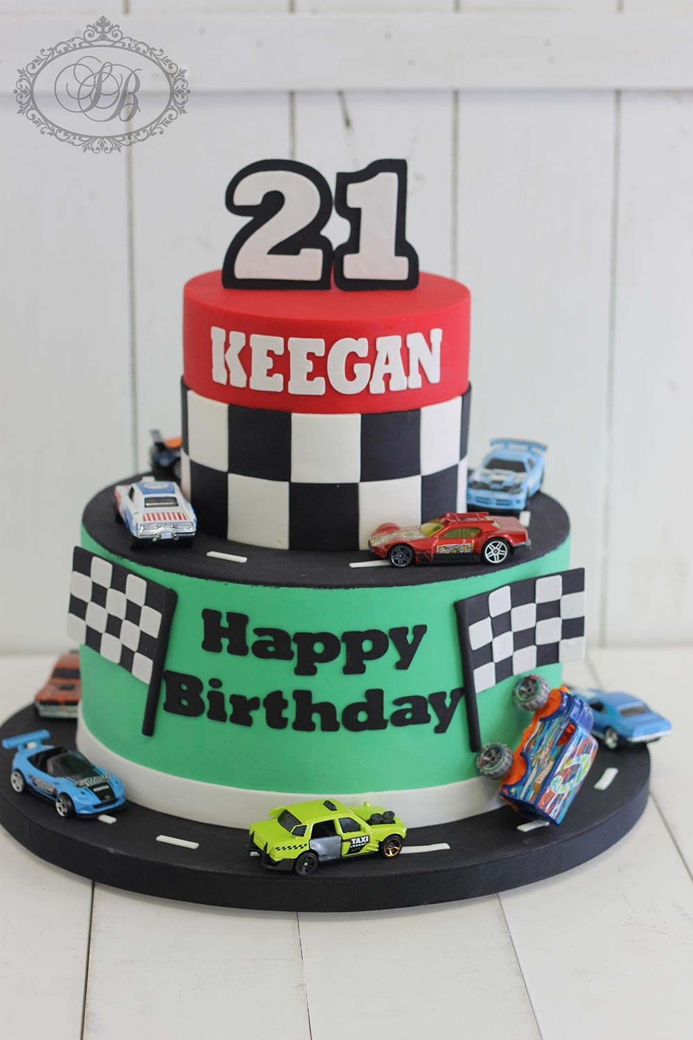 2 Tier Racing Car Cake