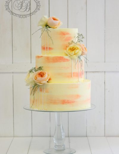 Peach watercolour buttercream cake with drip