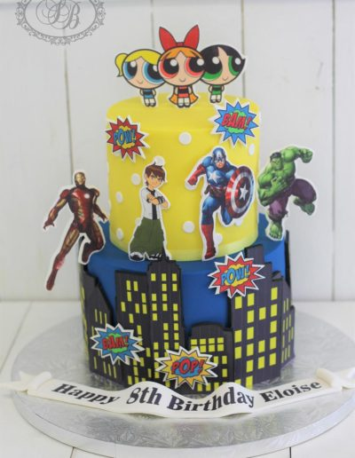 Powerpuff girls & superhero cake