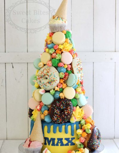 Candy and donut tower cake