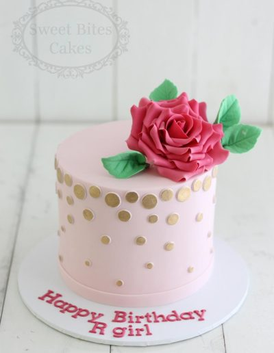 Pink and gold polka dot cake
