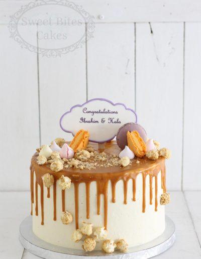 Caramel drip cake with popcorn