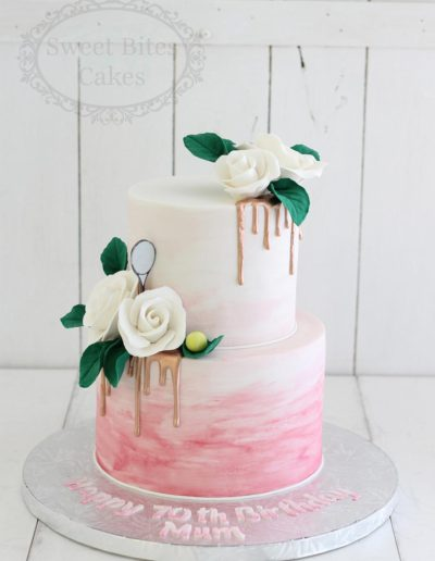 Pink watercolour ombre cake with rose gold drip