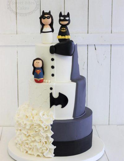 Half superhero half classic wedding cake