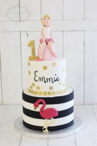 Flamingo and stripes cake