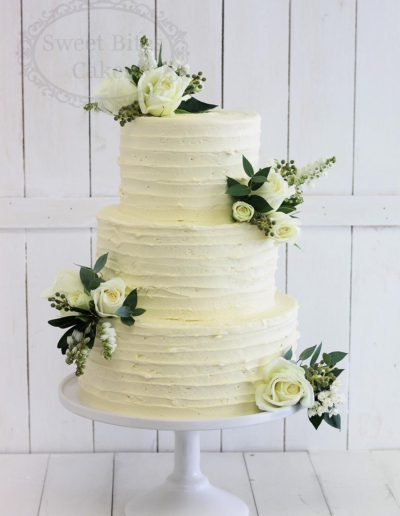 Rough finish buttercream wedding cake