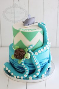 Shark and blue tentacles cake