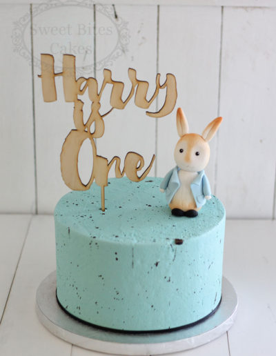 Blue speckle peter rabbit cake