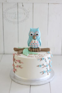 Pink and blue owl baby gender reveal cake