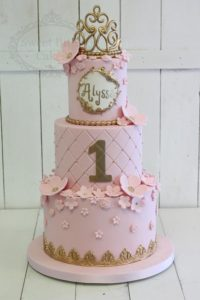 3 tier pink and gold luxe cake