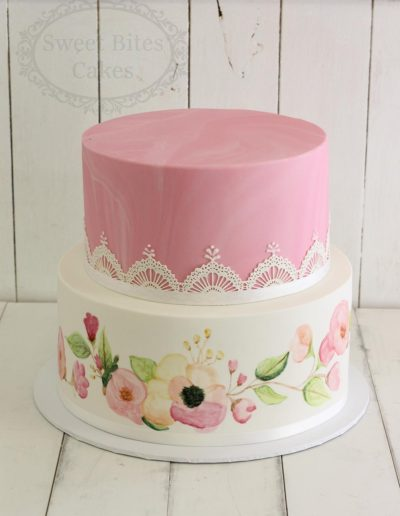 2 tier handpainted flowers cake