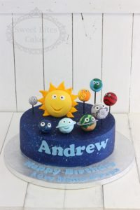 Cartoon planets cake