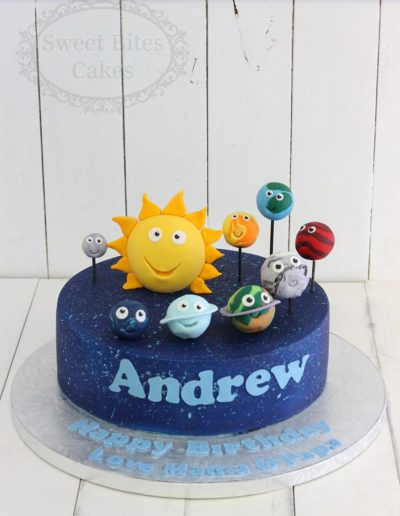 Cartoon planets cake