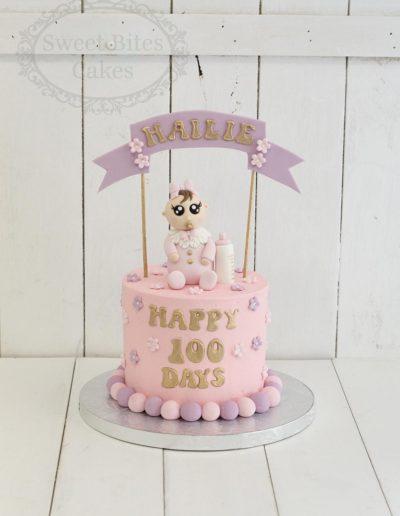 100 days pastel pink cake