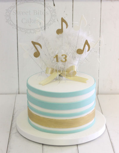 Mint stripes cake with music notes