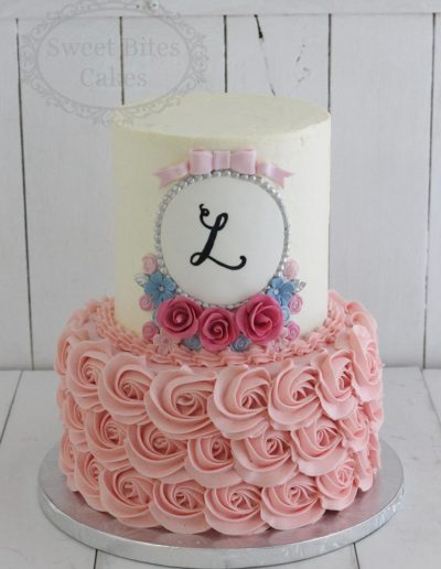 2 Tier Rosette Buttercream Cake With Monogram