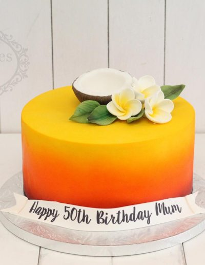 Sunset airbrushed cake with coconut