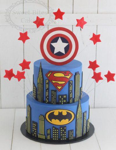 2 tier superhero cityscape cake