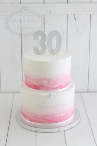 Simple pink watercolour cake